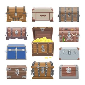 Caixa de tesouro com riqueza de dinheiro em ouro ou baús de pirata de madeira com conjunto de ilustração de moedas de ouro de recipiente de madeira fechado
