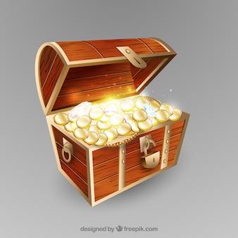 Caixa de tesouro em estilo realista
