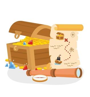 Caixa de tesouro pirata com mapa e telescópio