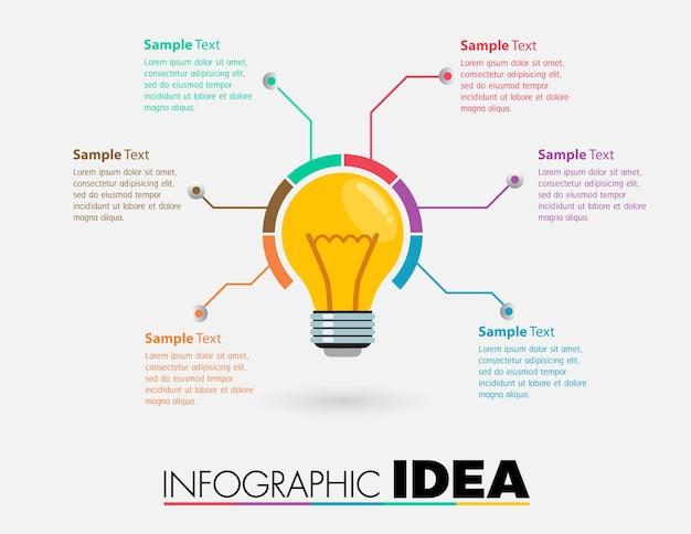 Caixa de texto de lâmpada, banner infográfico