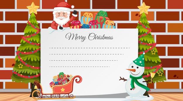 Caixa de texto de natal com enfeites