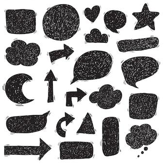 Caixa de texto doodle conjunto desenhar preto e branco