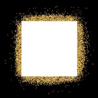 Caixa de texto em branco no quadro de glitter dourados e fundo preto