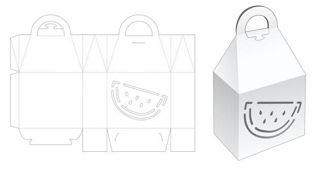 Caixa de topo em pirâmide com molde de estêncil em formato de melancia