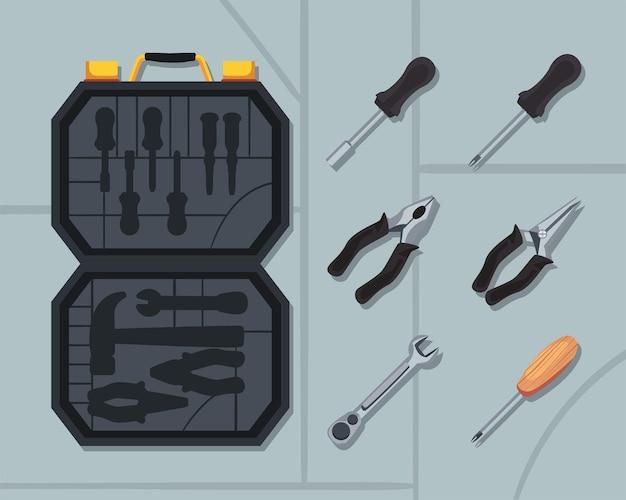 Caixa de trabalho aberta com ferramentas definidas