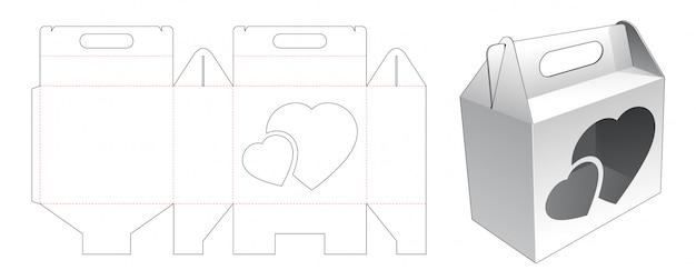 Caixa de transporte com janela cortada com 2 corações