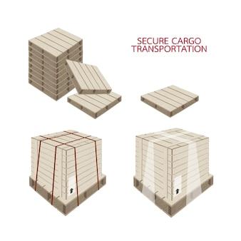 Caixa de transporte com plástico envoltório e cintas de aço