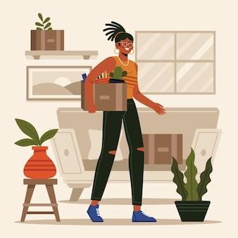 Caixa de transporte de mulher conceito de mudança de casa