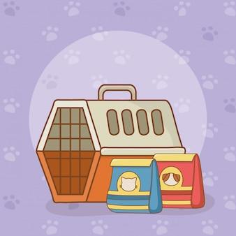Caixa de transporte e comida para animais de estimação