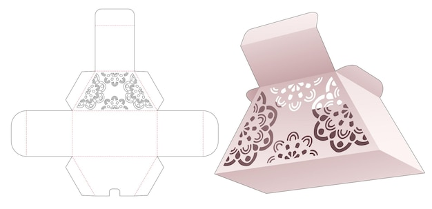 Caixa de trapézio de papelão com molde de mandala recortado