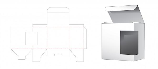 Caixa de varejo com janela lateral modelo cortado