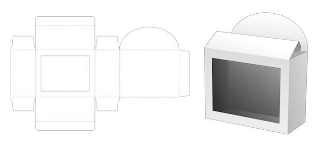 Caixa de varejo com janela retangular modelo cortado