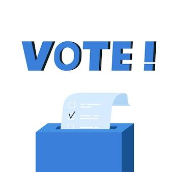 Caixa de votação com lista de verificação. colocando papel na urna eleitoral. conceito de eleição. ilustração plana
