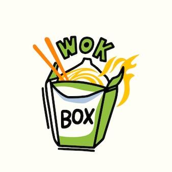 Caixa de wok com macarrão, fogo e pauzinhos, elemento de design para restaurante de comida chinesa, conceito de refeições asiáticas para levar, emblema para tampa de cardápio chinês ou quadro indicador de cafeteria. ilustração vetorial