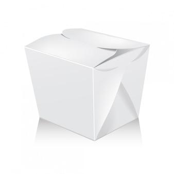Caixa de wok em branco branco fechado. a caixa leva o saco de papel para alimentos.