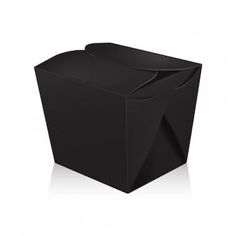 Caixa de wok em branco preto fechado. a caixa leva o saco de papel para alimentos.