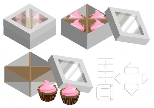 Caixa do queque que empacota o projeto cortado do molde. mock-up 3d