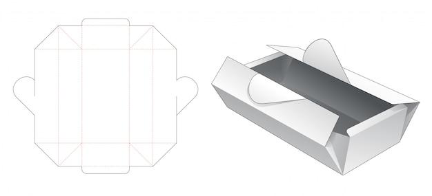 Caixa dobrável com ponto de abertura em forma de coração modelo de corte