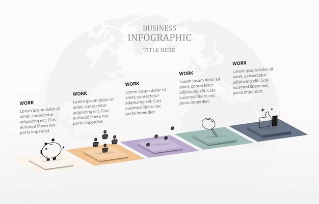 Caixa e ícones de infographic cinco para o negócio concept.5 elementos coloridos para o vetor 10.