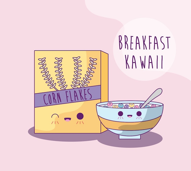 Caixa e prato com cereais no café da manhã estilo kawaii