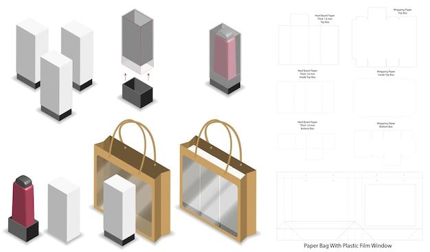 Caixa e saco de papel conjunto maquete com dieline