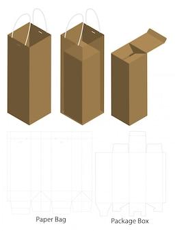 Caixa e saco dieline para maquete de pacote de garrafa