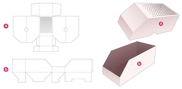 Caixa e tampa chanfradas com molde de pontos de meio-tom estampados