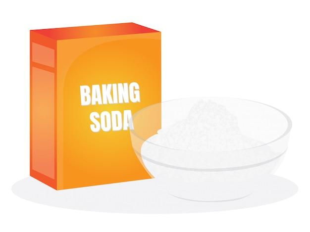 Caixa e tigela de vidro de bicarbonato de sódio isolado no branco