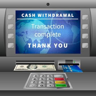 Caixa eletrônico com operação de retirada de dinheiro