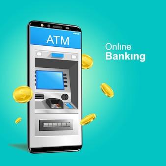 Caixa eletrônico vetor de smartphone de banco on-line com moedas de ouro