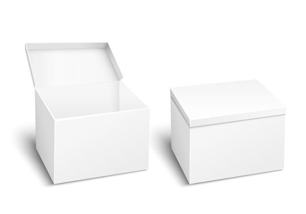 Caixa em branco. recipiente vazio, design de embalagem, objeto de modelo, papelão de embalagem