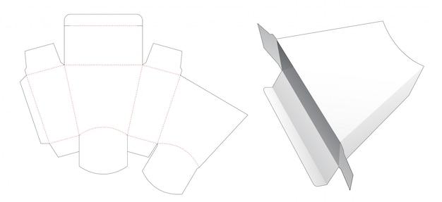 Caixa em forma de trapézio de papelão modelo cortado