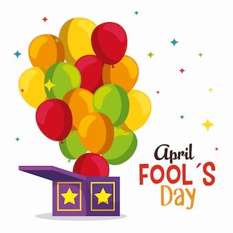 Caixa engraçada com balões para dia dos tolos