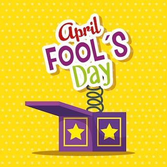 Caixa engraçada com mensagem para o dia dos tolos