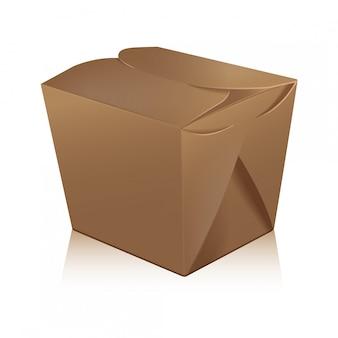 Caixa fechada wok em branco. a caixa leva o saco de papel para alimentos.
