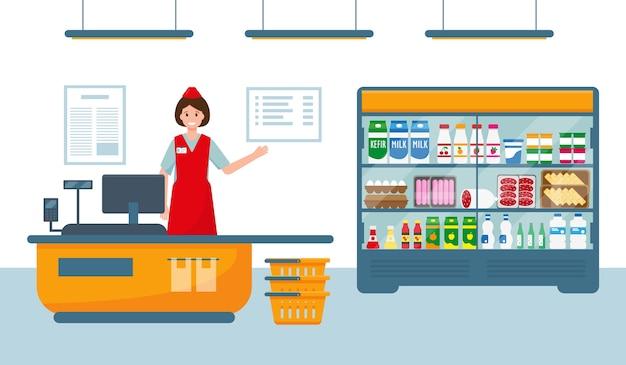 Caixa feminina na caixa registradora de um supermercado perto de uma vitrine com produtos