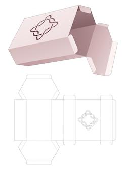 Caixa hexagonal de papelão com molde recortado de linhas curvas estampadas