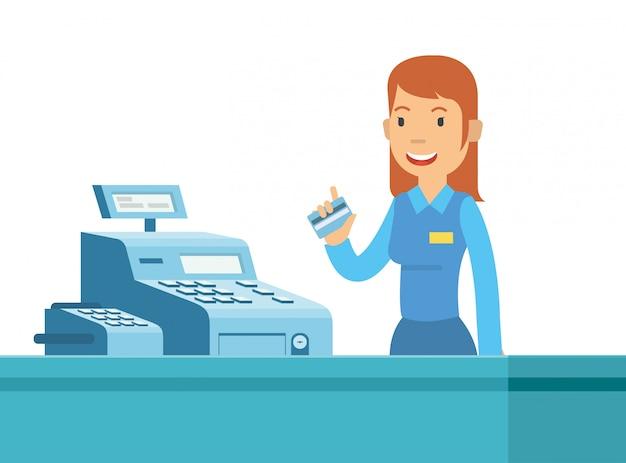 Caixa jovem é feliz pode trabalhar no supermercado