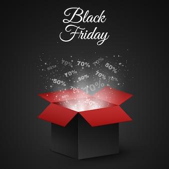 Caixa mágica preta e vermelha à venda em uma sexta-feira negra.
