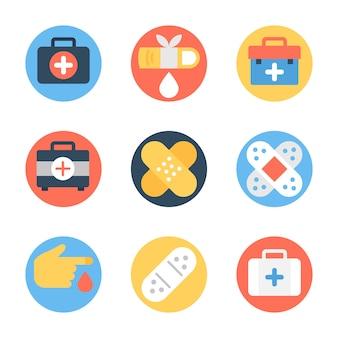 Caixa médica, bandagem e pacote de feridas
