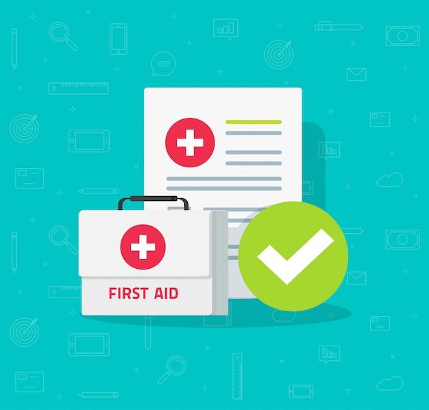 Caixa médica e lista de verificação de formulário clínico com dados de resultados e marca de verificação aprovada