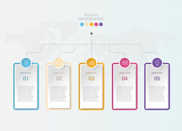 Caixa moderna infográficos e ícones para os negócios atuais.