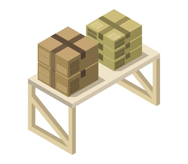 Caixa na mesa isométrica