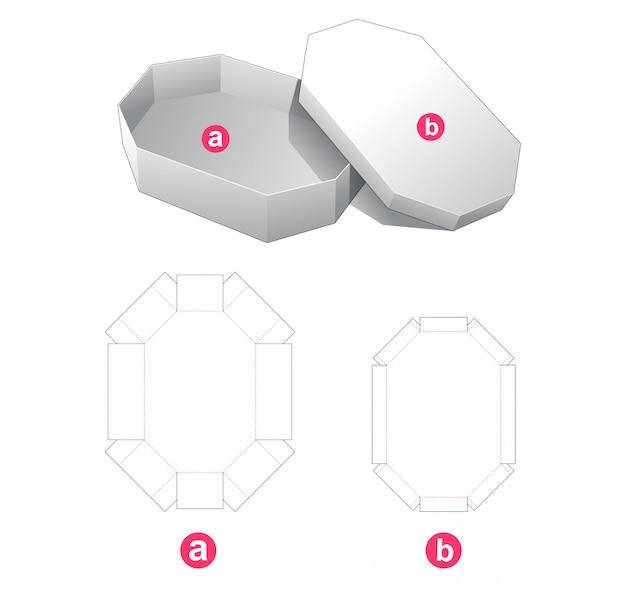 Caixa octogonal com tampa modelo cortado