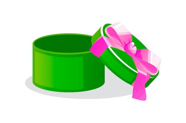 Caixa oferta redonda aberta verde com laço para jogos.