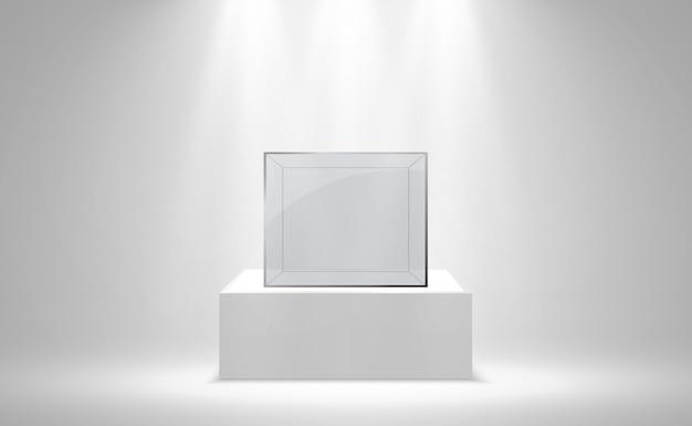 Caixa ou recipiente de vidro realista em um suporte branco.