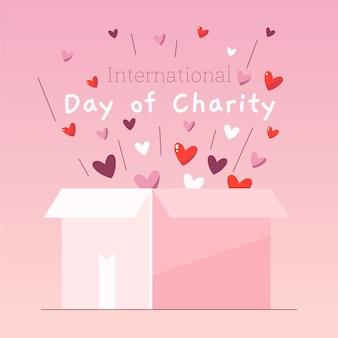 Caixa para fins de caridade ilustrada