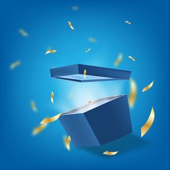 Caixa presente bônus surpresa com mar azul