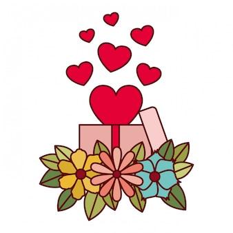 Caixa presente, com, corações, isolado, ícone