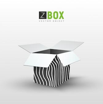 Caixa preta vazia com padrão ondulado selvagem